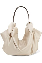 Nanushka Inda Croc Effect Leather Trimmed Knotted Satin Tote Cream