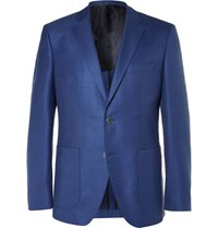 Hugo Boss Blue Janson Slim Fit Wool And Silk Blend Hopsack Blazer Blue