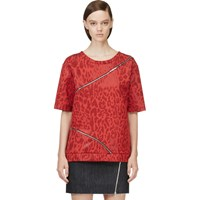 Jay Ahr Red Jacquard Leopard Zip Trimmed T Shirt