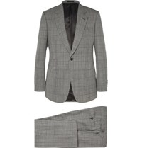 Kingsman Grey Slim Fit Single Breasted Prince Of Wales Checked Suit Gray