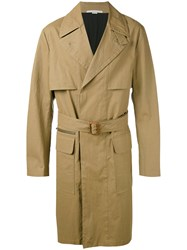 Stella Mccartney Trench Coat Men Cotton Linen Flax Viscose 50 Brown