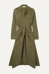 Vince Tie Front Crinkled Satin Midi Dress Army Green
