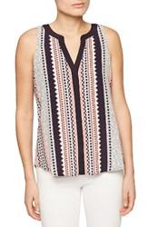 Sanctuary Women's Craft Print Split Neck Shell