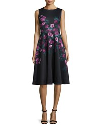 Erin Fetherston Sleeveless Floral Print Fit And Flare Dress Black Multi