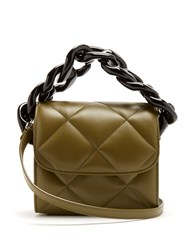 Marques Almeida Oversized Curb Chain Quilted Leather Shoulder Bag Khaki