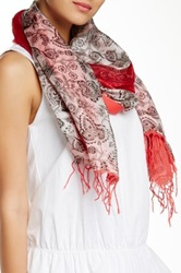 Michael Stars Paisley Silk Blend Scarf Red