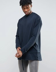 Asos Extreme Longline Sweatshirt With Double Layer Hem Navy
