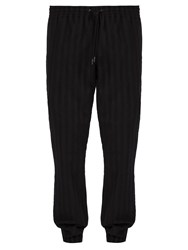 Saint Laurent Striped Wool Track Pants Black