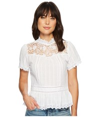 Miss Me Lace Floral Button Back Top Off White Clothing