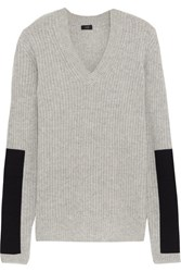 Joseph Twill Paneled Cashmere Sweater Gray