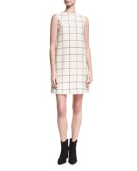 Valentino Sleeveless Windowpane Crepe Shift Dress Ivory