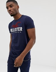 Hollister Chest Embroidered Seagull Logo T Shirt In Navy