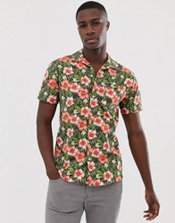 Selected Homme Floral Graphic Print Revere Collar Short Sleeve Shirt In Green