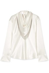 Alexander Wang Chain Embellished Silk Satin Blouse Ivory