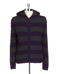 Black Brown Lambswool Blend Striped Hooded Cable Knit Sweater Coal Grey