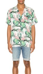 Levi's Premium Cubano Shirt In White Green. Flamingo Leaf And Cloud Dancer