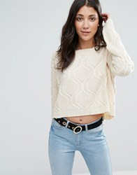 Raga Durango Cropped Cable Knit Jumper Eggshell Cream