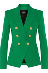 Balmain Double Breasted Cotton And Modal Blend Blazer Green