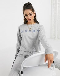 Juicy Couture Jxjc Long Sleeve Stitch Graphic Tee In Grey Silver