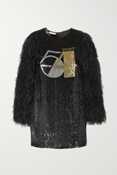 Michael Kors Collection Feather Trimmed Sequined Silk Georgette Mini Dress Black