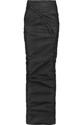 Rick Owens Ruched Cotton Shell Maxi Skirt Gray