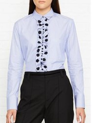 Paul Smith Ps By Striped Frill Shirt Blue Black Blue Black