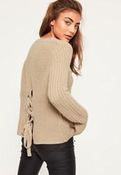 Missguided Nude Waffle Knit Chunky Lace Up Back Jumper Taupe