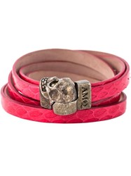 Alexander Mcqueen Wrap Around Skull Bracelet Pink And Purple