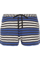 Skin Lesley Striped Cotton Jersey Pajama Shorts Blue