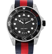 Gucci Stainless Steel And Webbing Watch Silver