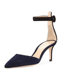 Gianvito Rossi Two Tone Ankle Strap D'orsay Pump Navy