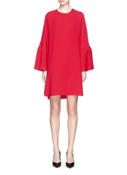 Valentino Ruffle Sleeve Crepe Couture Dress Red