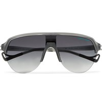 District Vision Reigning Champ Nagata Speed Blade Aviator Style Acetate Sunglasses Gray