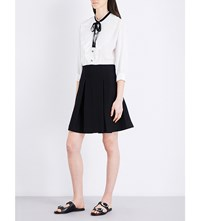 The Kooples Pussybow Muslin And Crepe Shirt Dress Whi09