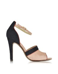 L'autre Chose Barbie Pink Navy Blue And Red Suede High Heel Sandal
