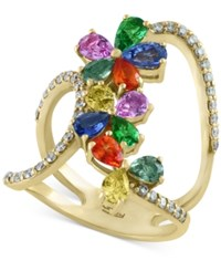 Effy Collection Watercolors By Effy Multi Gemstone 3 Ct. T.W. And Diamond 3 8 Ct. T.W. Statement Ring In 14K Gold