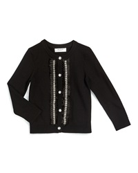 Milly Minis Embellished Button Front Cardigan Black Size 8 14