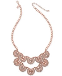 Inc International Concepts Rose Gold Tone Scalloped Filigree Statement Necklace Only At Macy's
