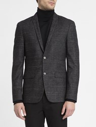Calvin Klein Mottled Black Tweed Wool Jacket