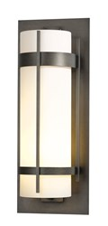 Hubbardton Forge Banded Extra Large Outdoor Sconce Incandescent Dark Smoke Opal Gray