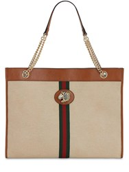 Gucci Large Rahah Canvas And Leather Tote Bag Sand