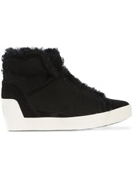 Marc Cain Shearling Trim Wedge Sneakers Leather Black