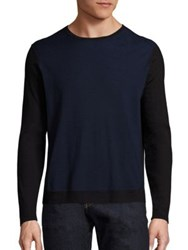 Zachary Prell Colorblock Merino Wool Sweater Navy Heather Grey