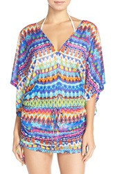 Luli Fama 'Beach Cabana' Print Dress Cover Up Blue Multi