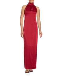 Rachel Zoe Satin Halter Sheath Gown Berry
