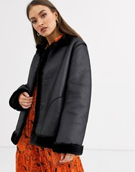 French Connection Louie Faux Shearling Reversible Jacket Black