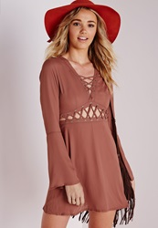 Missguided Lace Up Cut Out Skater Dress Brown Brown