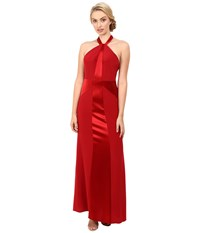 Jill Stuart Satin Back Crepe Halter Neck Gown Redwood Women's Dress Mahogany