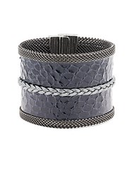 Cynthia Desser Embossed Leather Cuff Bracelet Navy