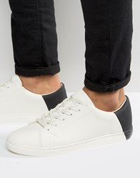 Asos Trainers In White With Contrast Heel White
